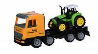 Same Toy Машинка інерційна Super Combination - Тягач жовтий з трактором, фото 1