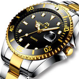 Часы мужские Megalith 0037M Silver-Gold-Black - Стальной браслет