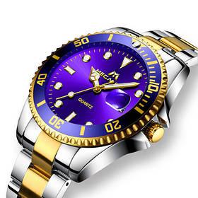 Часы мужские Megalith 0037M Silver-Gold-Blue - Стальной браслет