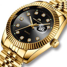 Часы мужские Megalith 0038M Gold-Black Diamonds-Золотой браслет