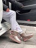🔥 Угги угг женские зимние Ugg Mini Bailey Bow Ii серебристые розовые замшевые замша кожаные кожа короткие, фото 5