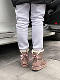 🔥 Угги угг женские зимние Ugg Mini Bailey Bow Ii серебристые розовые замшевые замша кожаные кожа короткие, фото 6