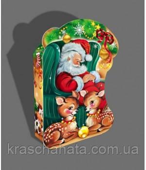 Новорічна коробка, Санта, 600 гр, Картонна упаковка для цукерок, Дніпро