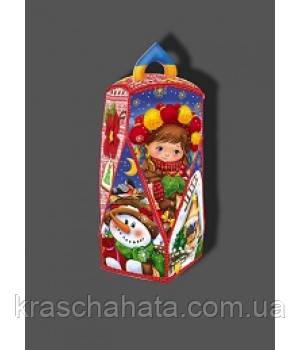 Новогодняя упаковка для конфет, Новогодний фонарик,  500 грамм, картонная упаковка Днепр