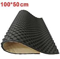 Автомобильный звукопоглощающий коврик (пена) самоклеющийся 1х0.5 м