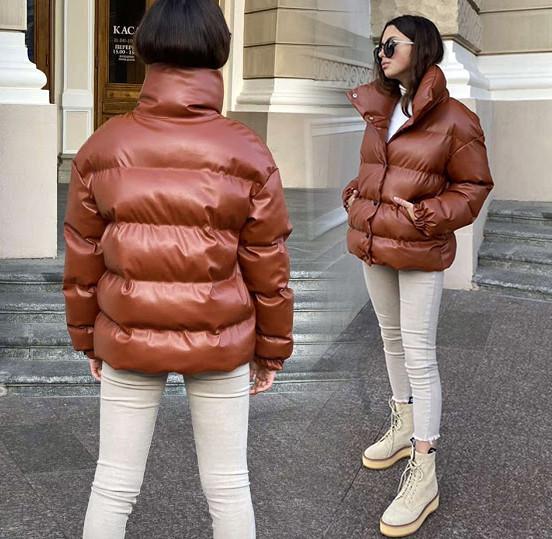 """Женская зимняя куртка """"Кожа Стойка"""" в расцветках (ЕК-505)"""