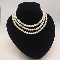 Намисто з білого річкових перлів, L=120 см, D=7 мм