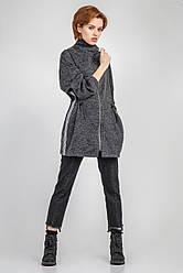 Легкая удлиненная куртка в спортивном стиле 1726 Bellise Темно-серый меланж