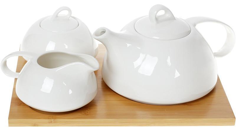 Набор для чая Nouvelle Home Глянец чайник, молочник и сахарница на подставке