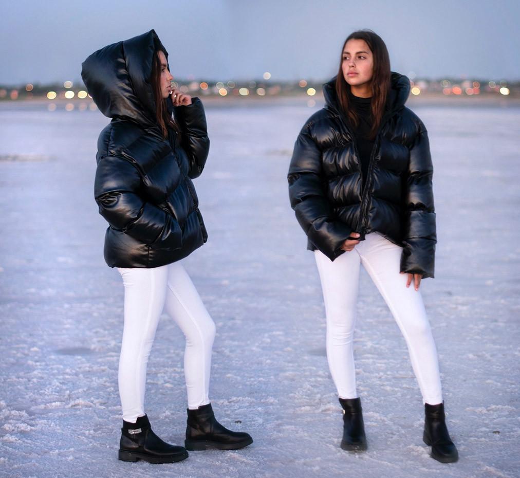 """Женская зимняя куртка """"Кожа Капюшон"""" в расцветках (ЕК-502)"""