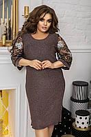 Стильное красивое женское платье люрекс 48-50 52-54 56-58 60-62 черный бронза графит