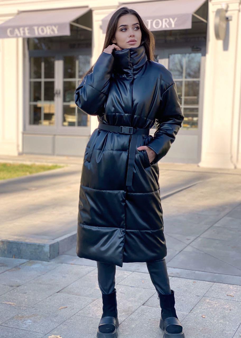 Подовжене пальто - пуховик, з коміром стійкою (р. S - XXL) 4502160