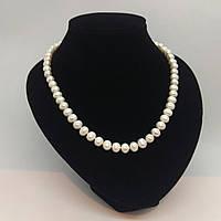 Намисто з якісного ідеально підібраного перлів ніжно кремового кольору з застібкою у вигляді сердечка