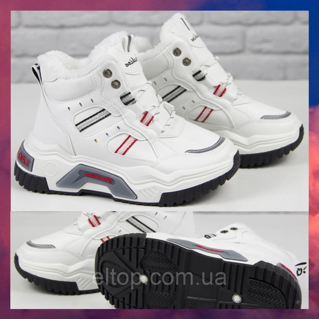 Модные зимние женские кроссовки с мехом белого цвета Теплые женские кроссовки белые Ideal размер 36 - 41