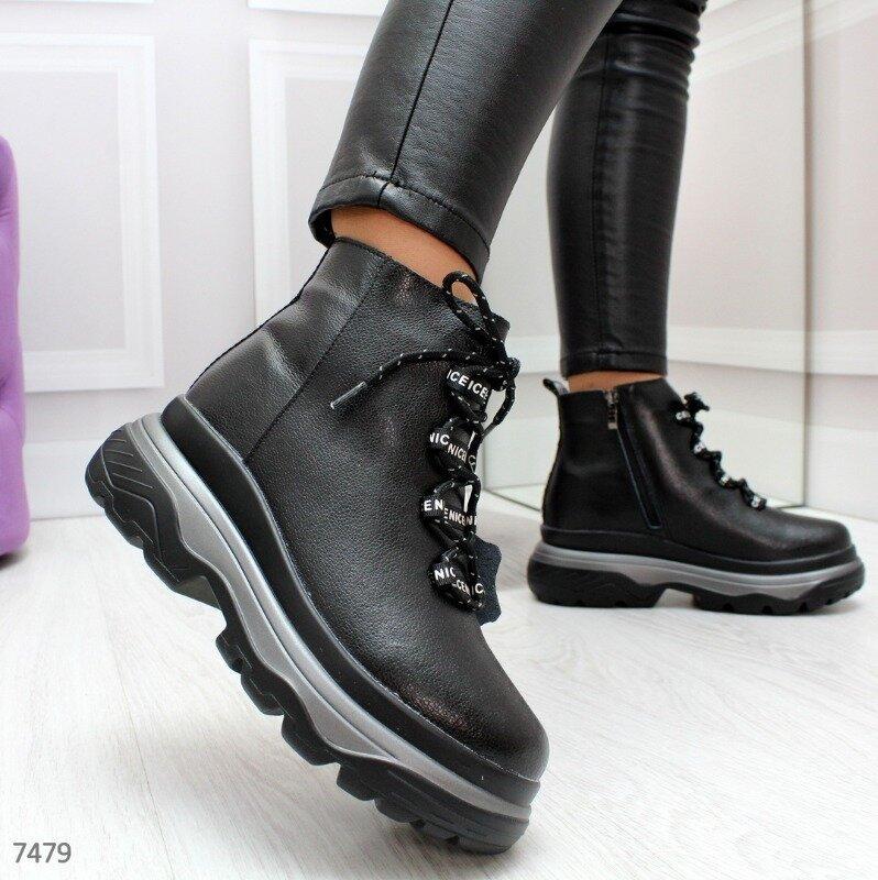 Модные черные зимние женские ботинки из натуральной кожи 36-41р, 7479