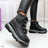 Модные черные зимние женские ботинки из натуральной кожи 36-41р, 7479, фото 1
