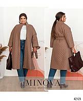 Удлиненная женская куртка демисезон с поясом оверсайз батал 50 52 54 56 58 60 62