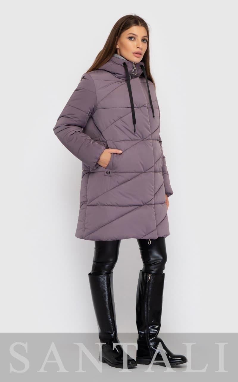 Удлиненная зимняя куртка - пуховик стеганая, прямого фасона с капюшоном (р. S - XXL) 4501546