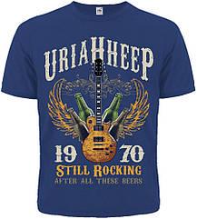 "Футболка Uriah Heep ""Still Rocking After All These Beers"" (синяя футболка), Размер S"