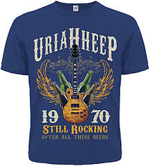"Футболка Uriah Heep ""Still Rocking After All These Beers"" (синяя футболка), Размер M"