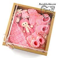 Подарунковий набір на народження хрещення для дівчинки, Бебі-бокс Максі 9 товарів, подарунок новонародженому