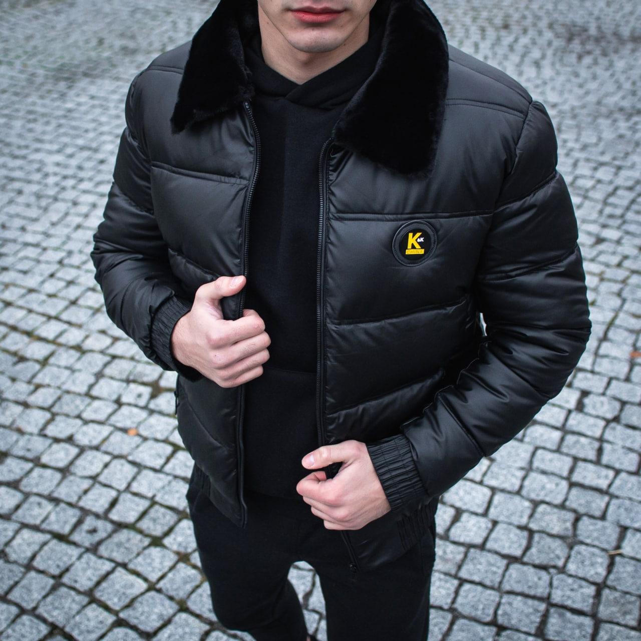 😜 Куртка - Мужскаяя куртка короткая с меховым воротником