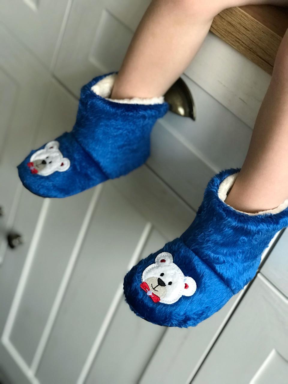 """Плюшевые валеночки угги """"Мишка"""" синие от 6 мес до 4 лет (11,5-16,5 см), Турция."""