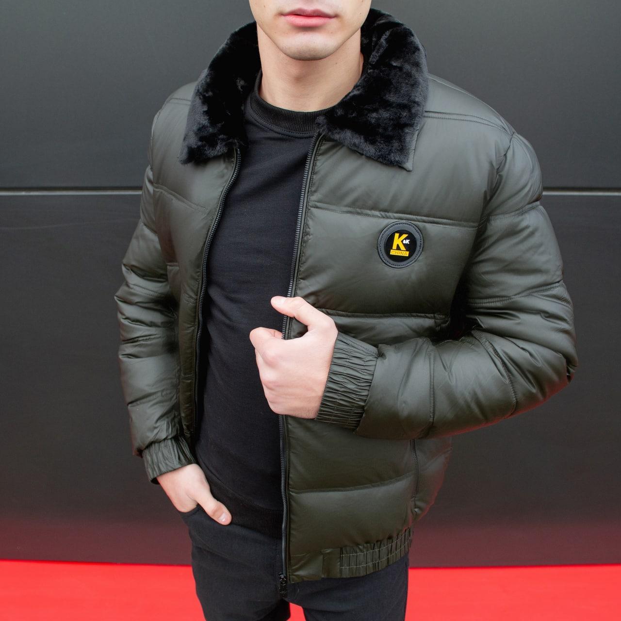 😜 Куртка - Мужскаяя куртка коротка хакі з хутряним коміром
