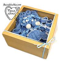 Подарунковий набір на народження хрещення для хлопчика, Бебі-бокс Максі 9 товарів, подарунок новонародженому