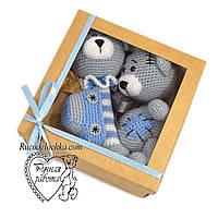 Подарочный набор на рождение крещение для мальчика, Бэби бокс Мини 3 товара, подарок новорожденному