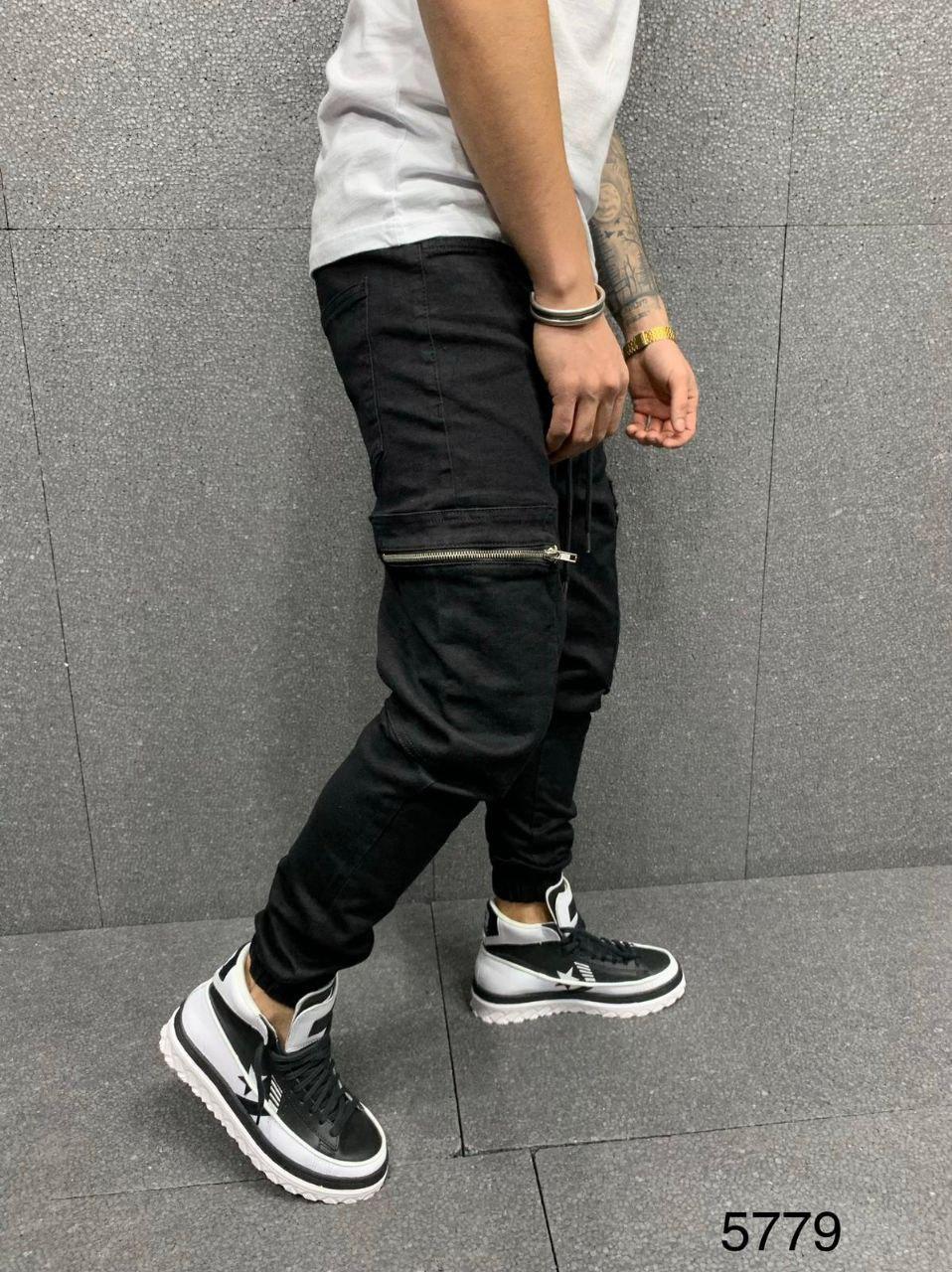 Джинсы - мужские черные джинсы с карманами карго
