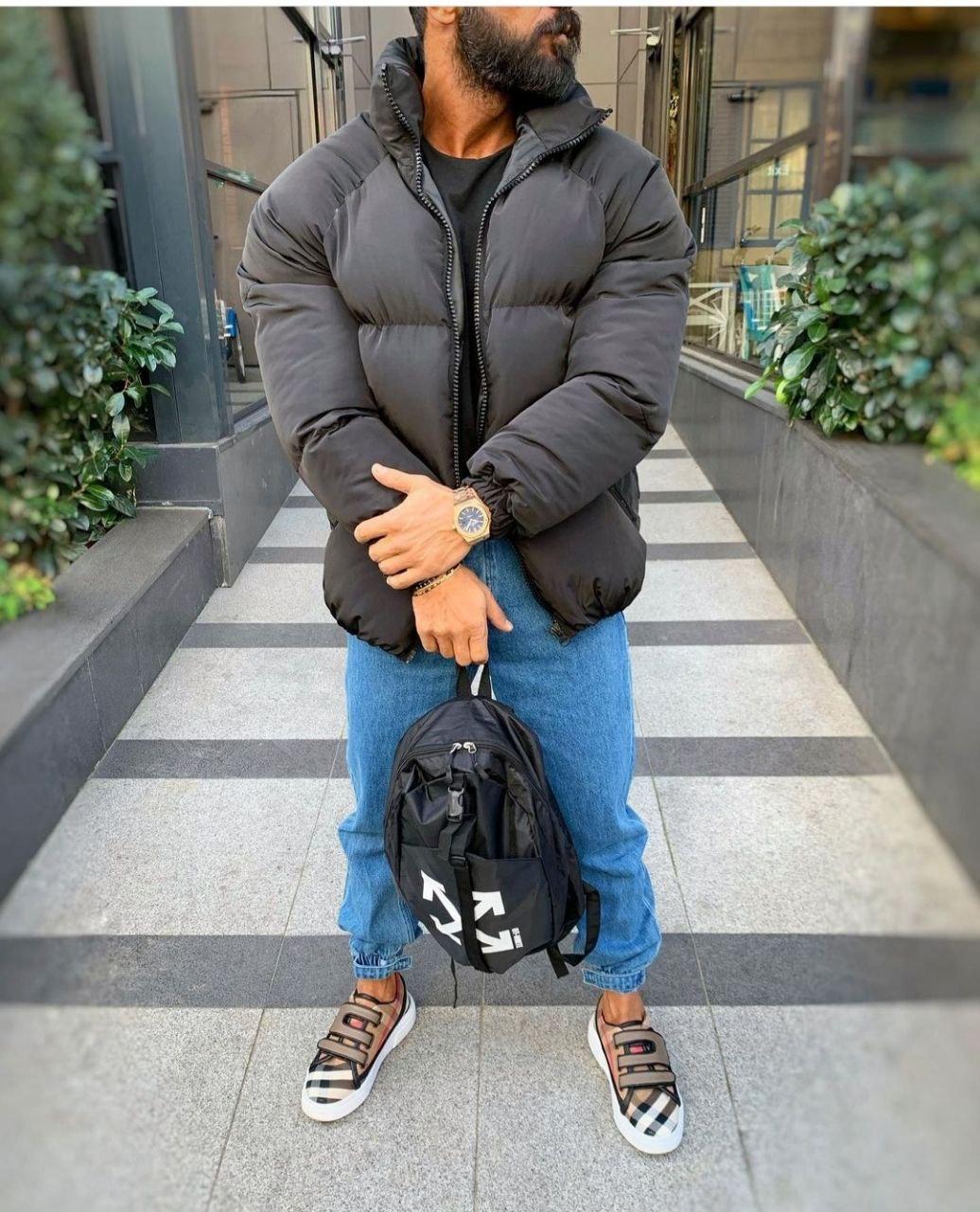 😜 Куртка - Мужскаяя зимняя куртка короткая черная оверсайз