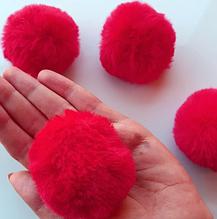 Помпон, 5 см , еко-хутро, колір червоний, 1 шт.