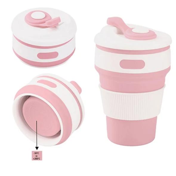 Термо-чашка складная силиконовая с крышкой 350 мл Розовая