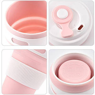Термо-чашка складная силиконовая с крышкой 350 мл Розовая, фото 2