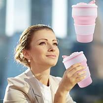 Термо-чашка складная силиконовая с крышкой 350 мл Розовая, фото 3