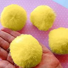 Помпон, 5 см , еко-хутро, колір жовтий, 1 шт.