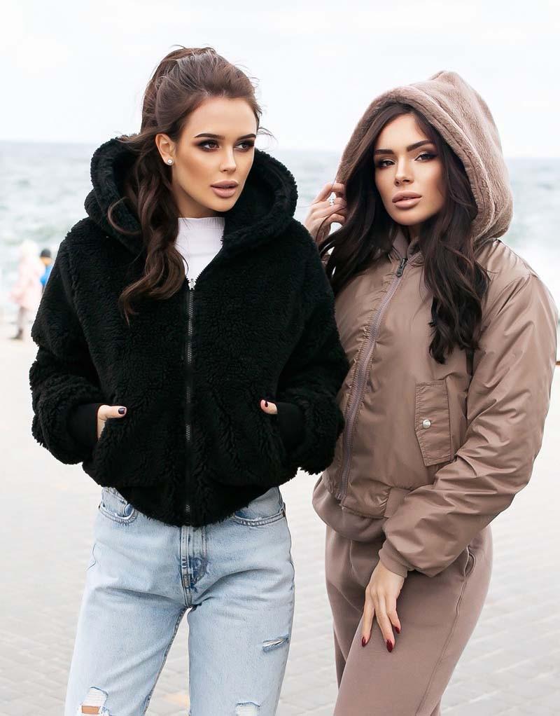 """Жіноча зимове двостороння куртка-шуба """"Плащівка Хутро"""" в кольорах (63-5-269)"""