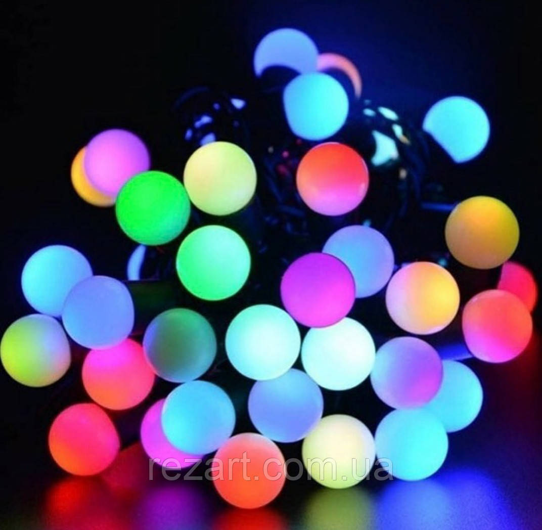 Гирлянда черный шнур 10мм 80 мелких  ламп шарики твинки мультик
