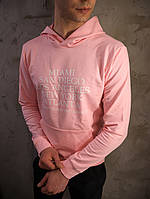 Мужская розовая толстовка худи свитшот с капюшоном