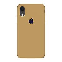 Чехол силиконовый на айфон Silicone Case для iPhone XR закрытый низ gold золотой