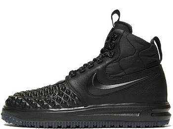 Мужские зимние кроссовки Nike Lunar Force 1 Duckboot '17 (Premium-class) черные с мехом
