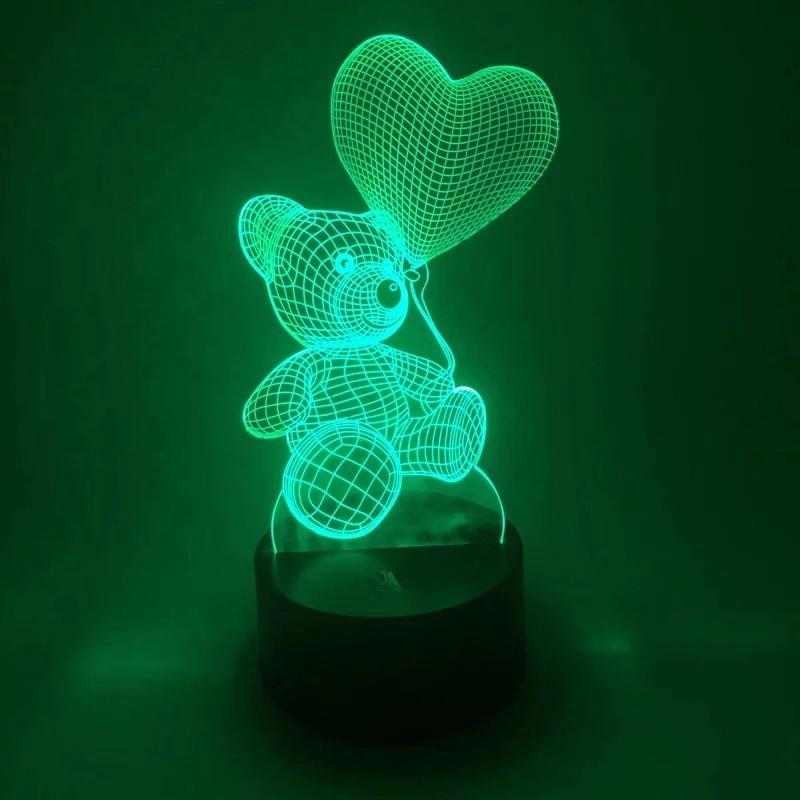 3D Светильник ночник 3D Лампа — Мишка с сердцем (с пультом управления)