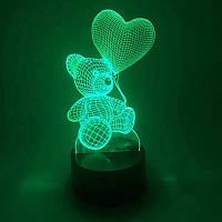 3D Светильник ночник 3D Лампа — Мишка с сердцем (с пультом управления), фото 1