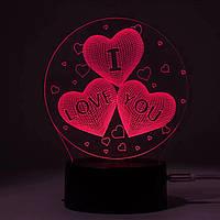 """3D Світильник нічник 3D Лампа — Сердечка """"I Love you"""" (з пультом управління)"""