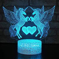 3D Світильник нічник 3D Лампа — Два пегаса (з пультом управління)