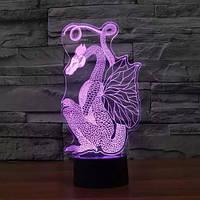 3D Світильник нічник 3D Лампа — Дракон (з пультом управління)