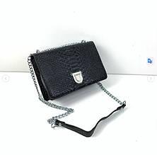 Сумка блестящая в стиле Диор диорама фактура крокодил (0285) Черный