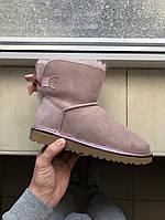 Зимние женские угги с натуральным мехом UGG Mini Bailey Bow II Dusk тёмно - розовые, фото 1