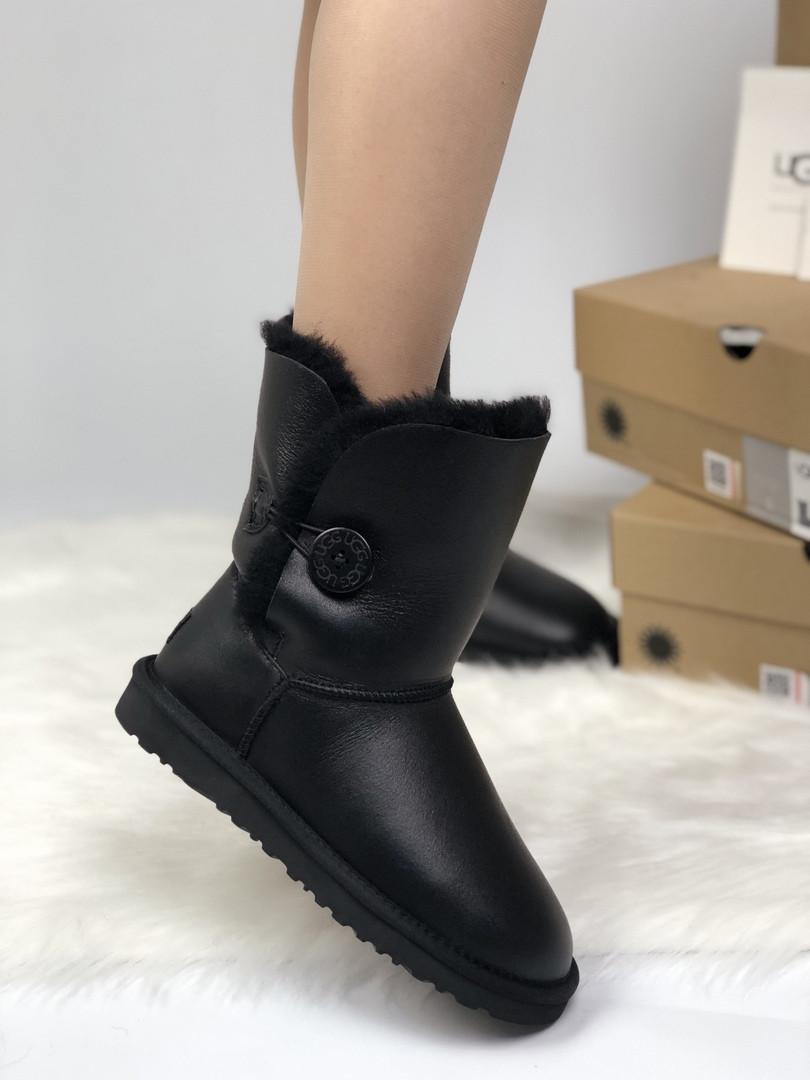 Зимние женские угги с натуральным мехом UGG Leather Bailey Button Black Blink чёрные